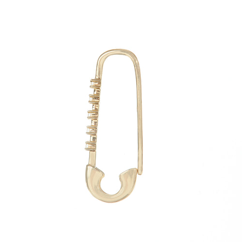 Five Diamond Safety Pin Earring
