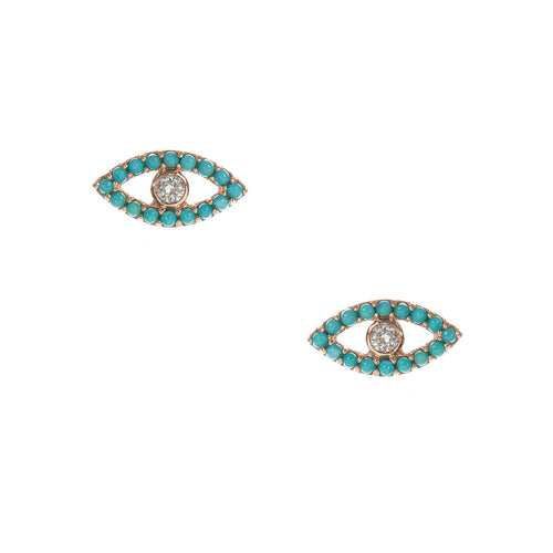 Turquoise Evil Eye Stud Earrings