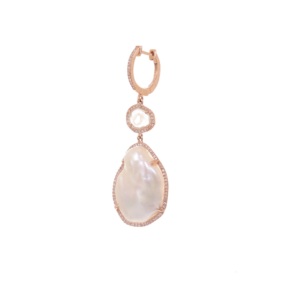 Pearl Diamond Slice Earrings