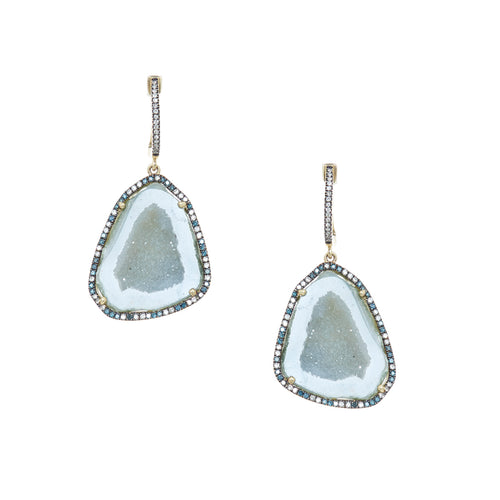 Blue Geode Halo Earrings