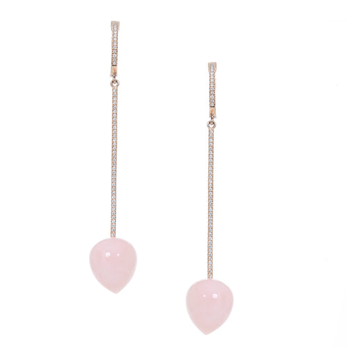 Pink Opal Pave Drop Earrings