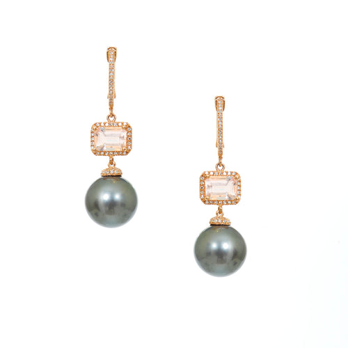Morganite and Black Pearl Earrings