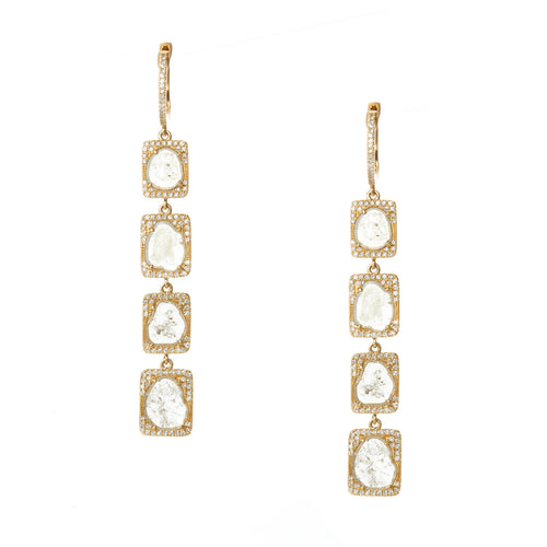 Quad Sliced Diamond Drop Earrings