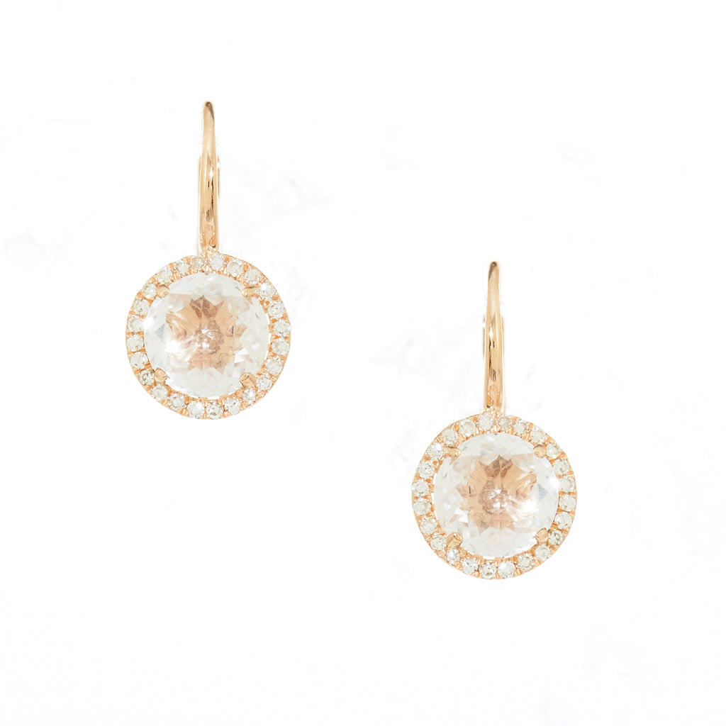 White Topaz Diamond Earrings