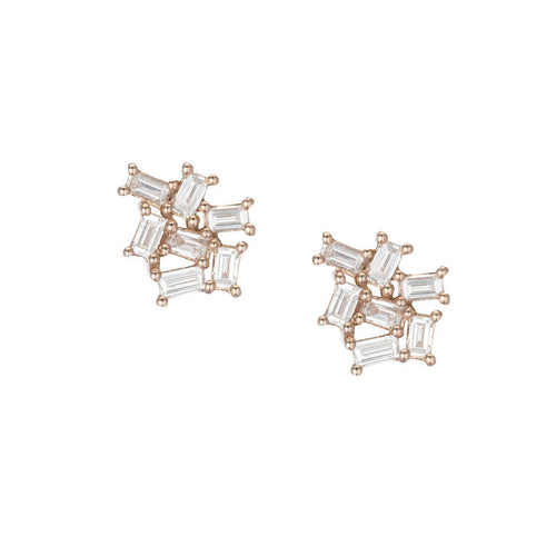Baguette Diamond Cluster Earrings