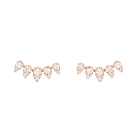 Rose Gold organic shape diamond earrings