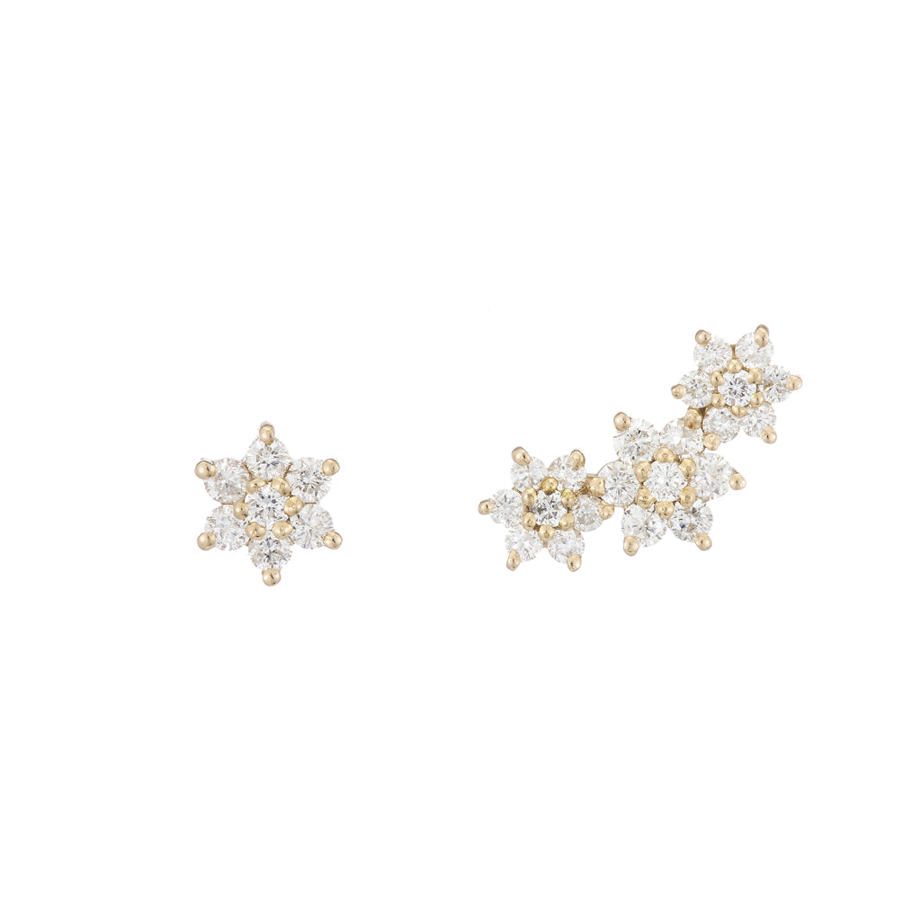Asymmetrical Diamond Star Earrings