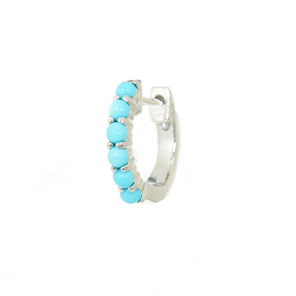 White Gold Turquoise Huggies