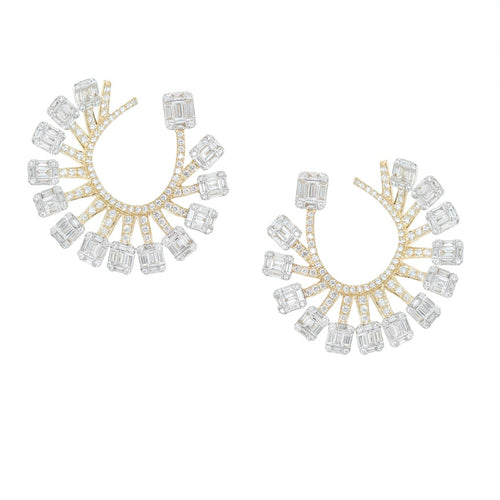 Diamond Baguette Fan Earrings