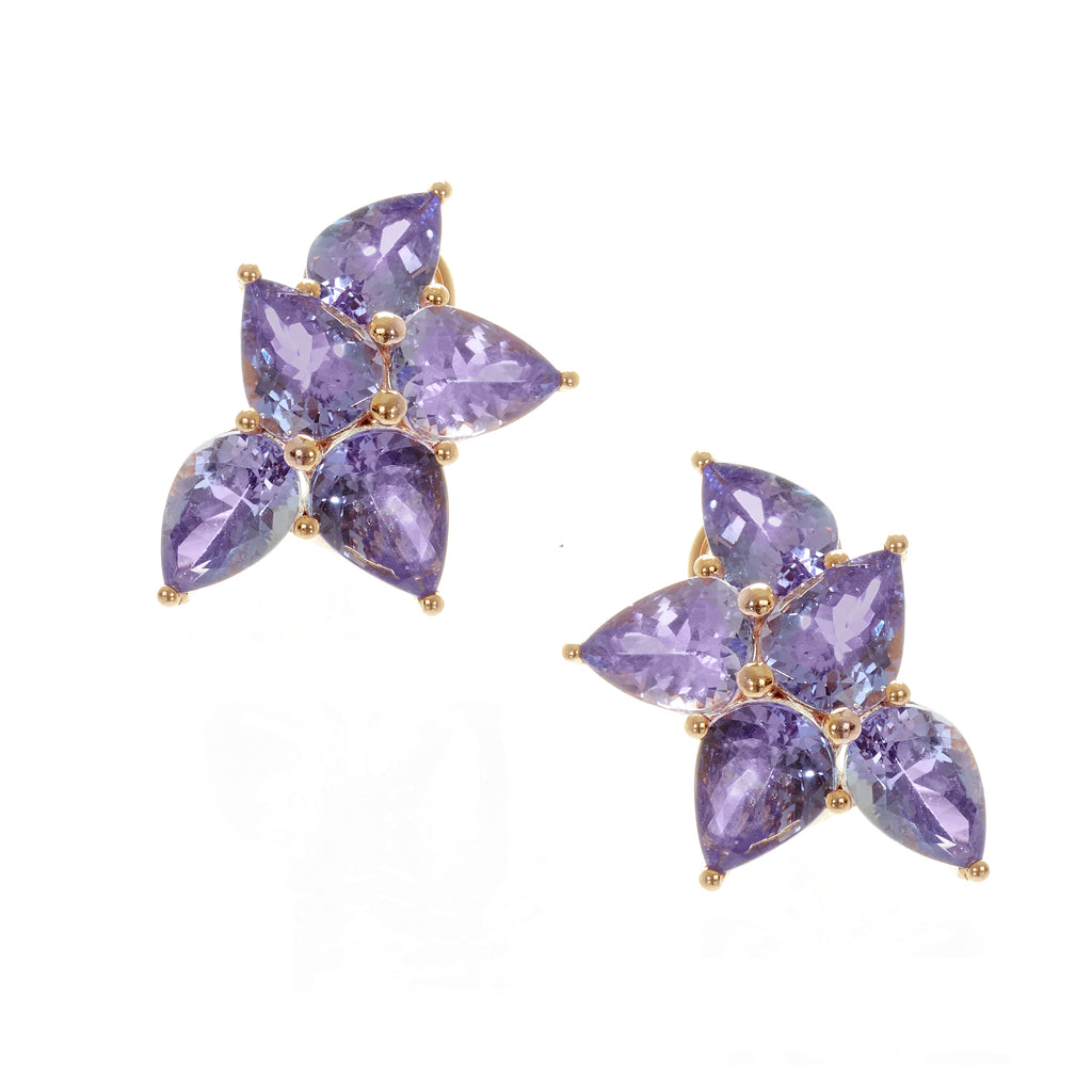 Tanzanite Leaf Set in 18K Rose Gold Earrings