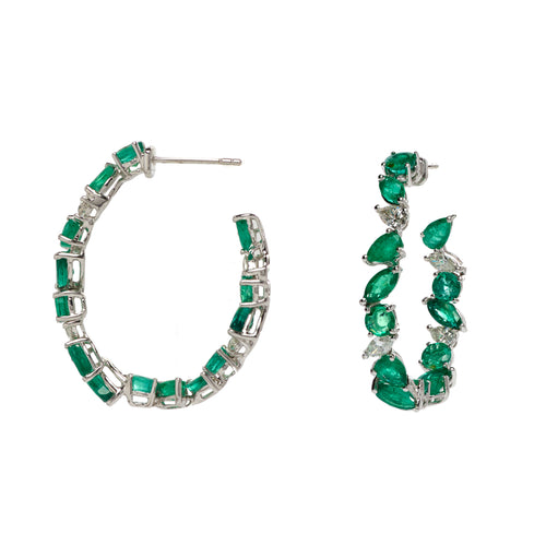 Emerald & White Diamond Hoop Earrings