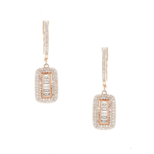 Baguette Diamond Pendant Huggies