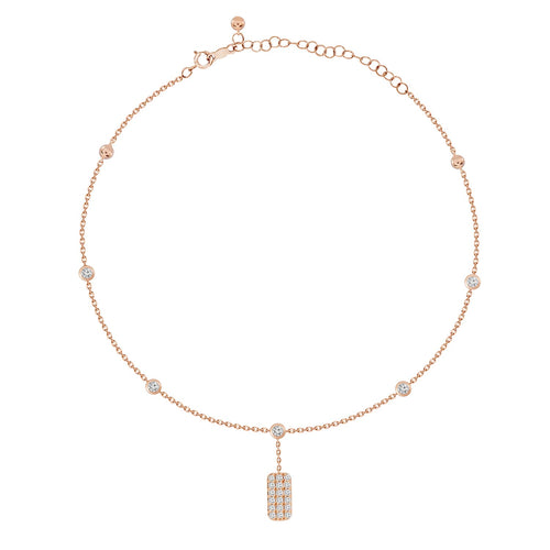 18K Gold Bezel Diamond Anklet with Diamond ID Tag