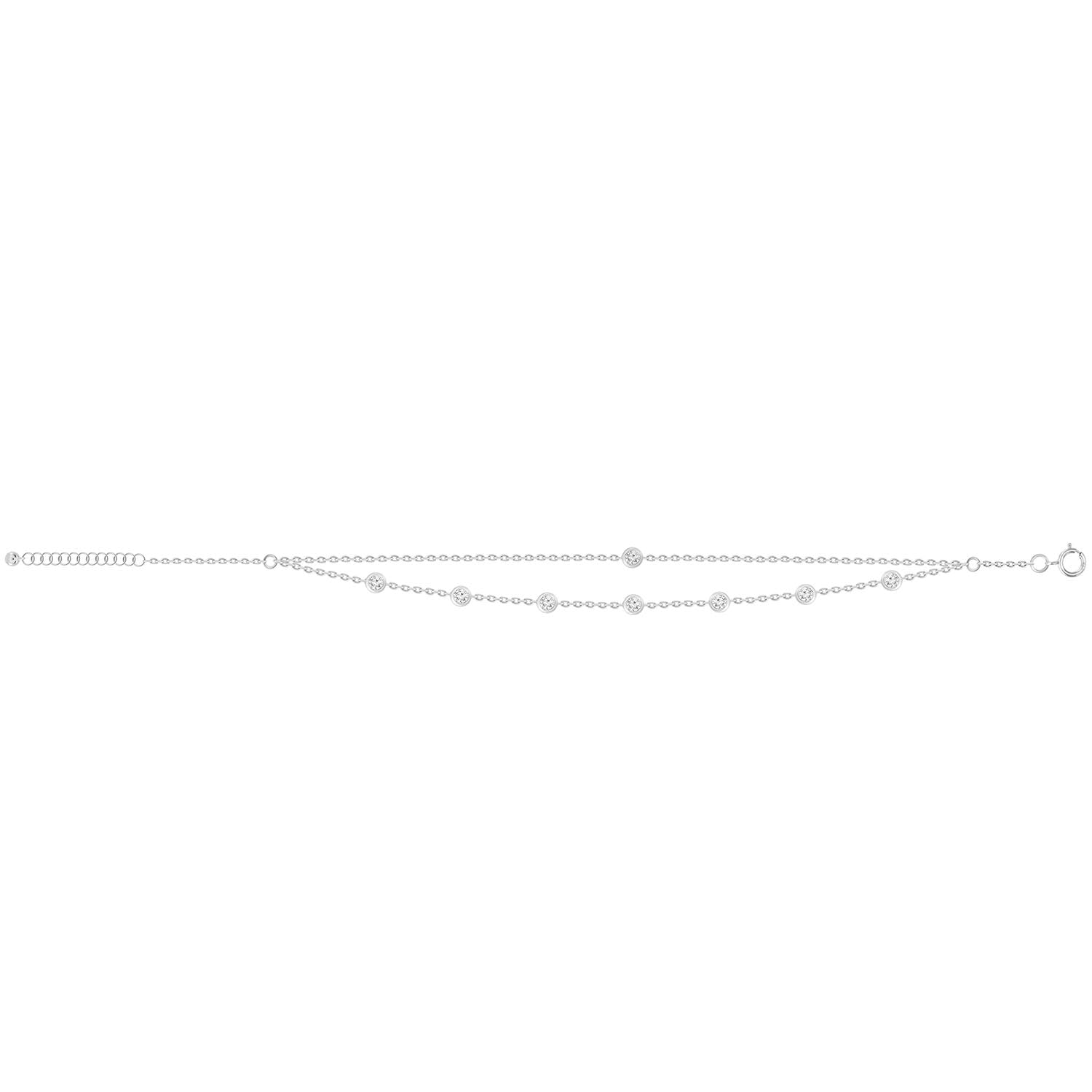 Double Chain Bezel Diamond Anklet