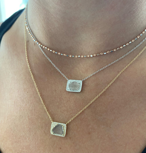 Rectangular Sliced Diamond Necklace