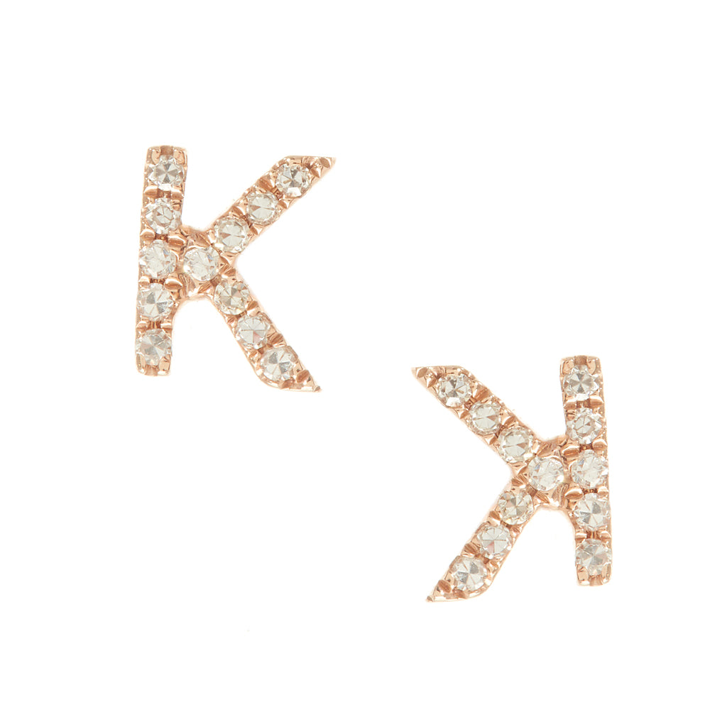 Pave Letter Studs