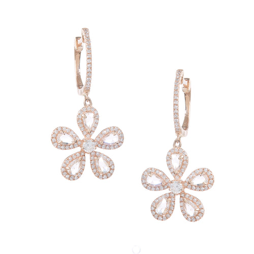 Rosecut Diamond Petal Earrings