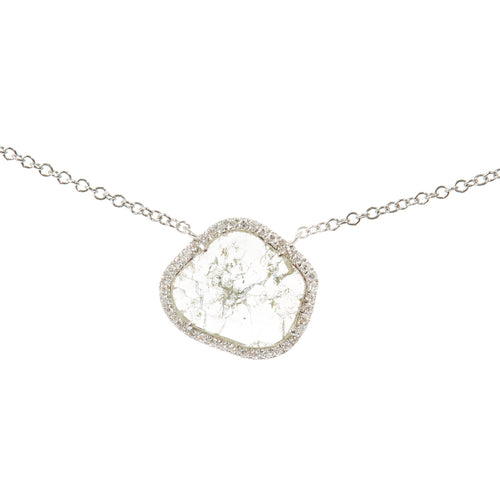 Slice Diamond Halo Necklace