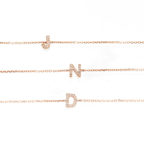 Pave Double Initial Necklace