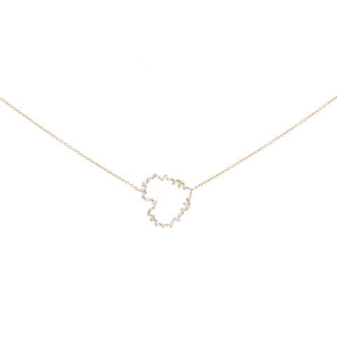 Baguette Diamond Crescent Bar Necklace
