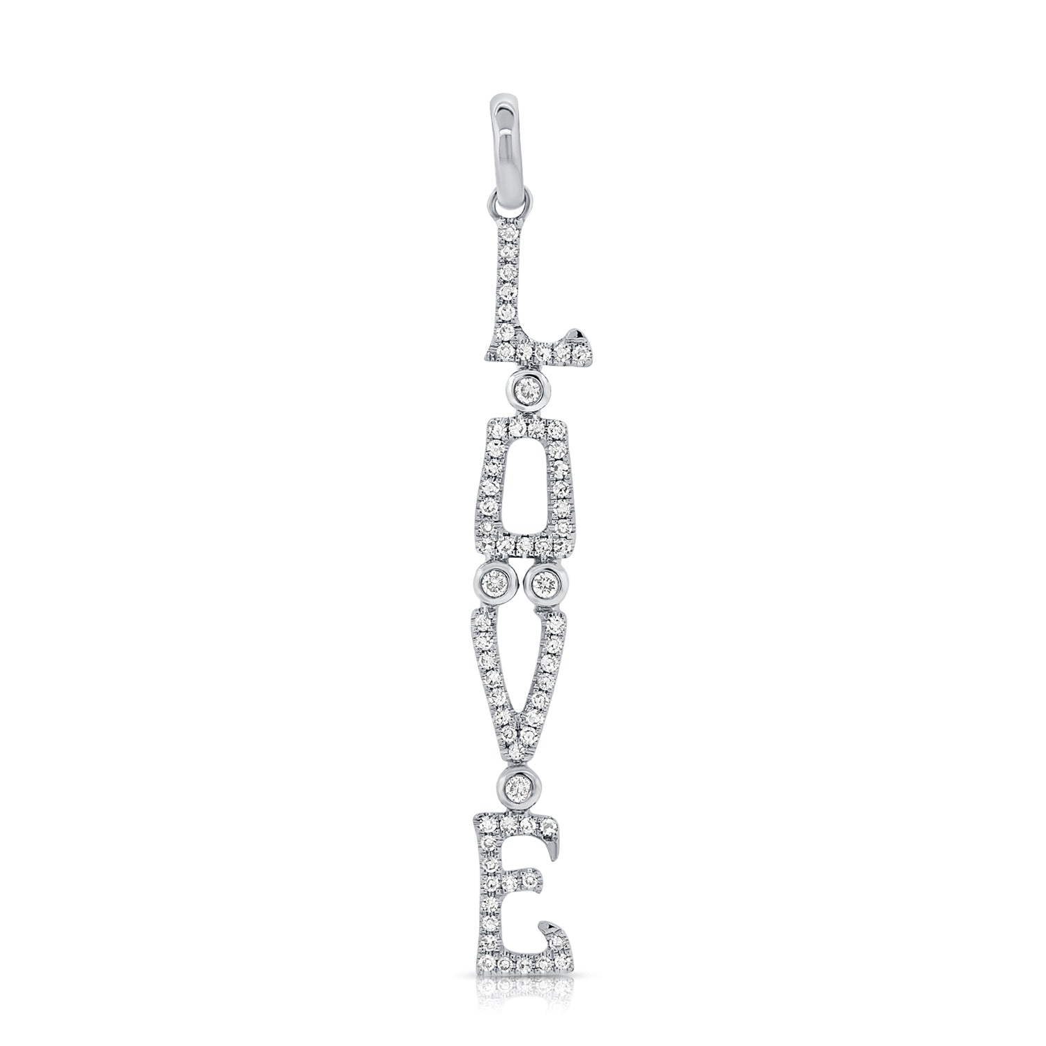 Vertical LOVE Diamond Pendant