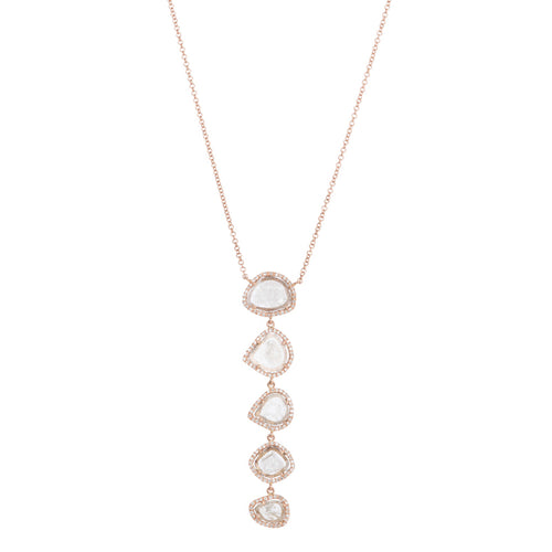 5 Drop Sliced Diamond Necklace
