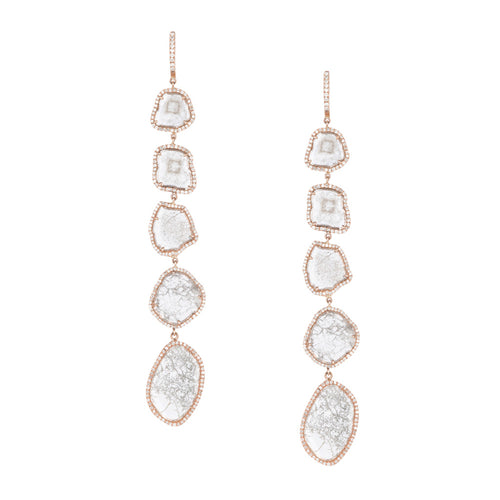 Long Sliced Diamond Earrings