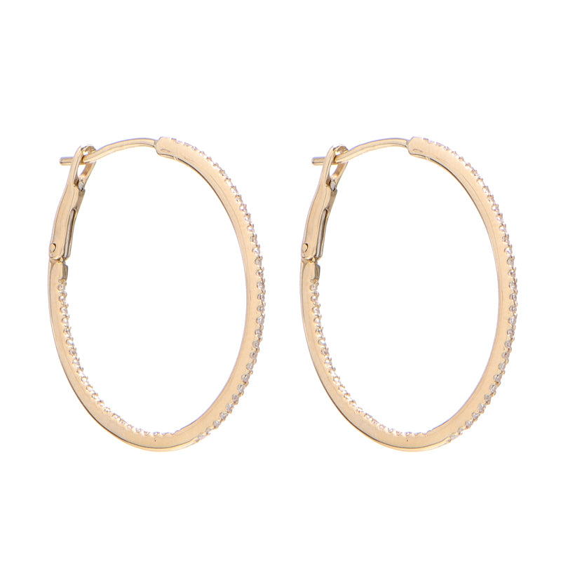 Medium Pave Oval Hoops