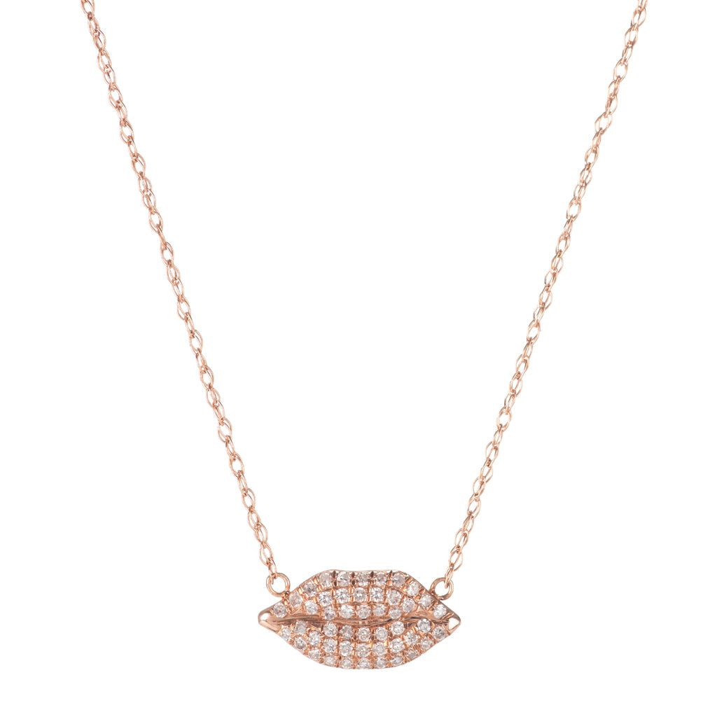 Pave Diamond Lip Necklace