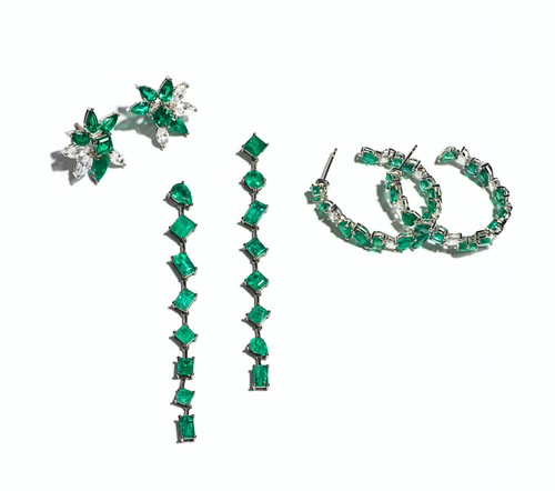 Ava White Diamond & Emerald Flower Studs