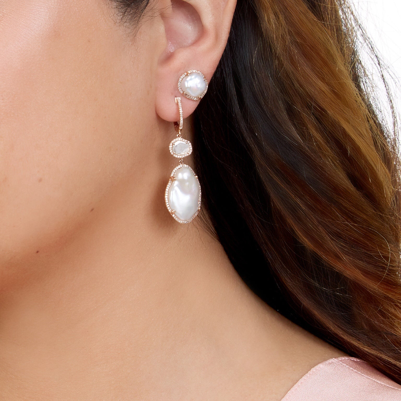 Pearl Diamond Studs