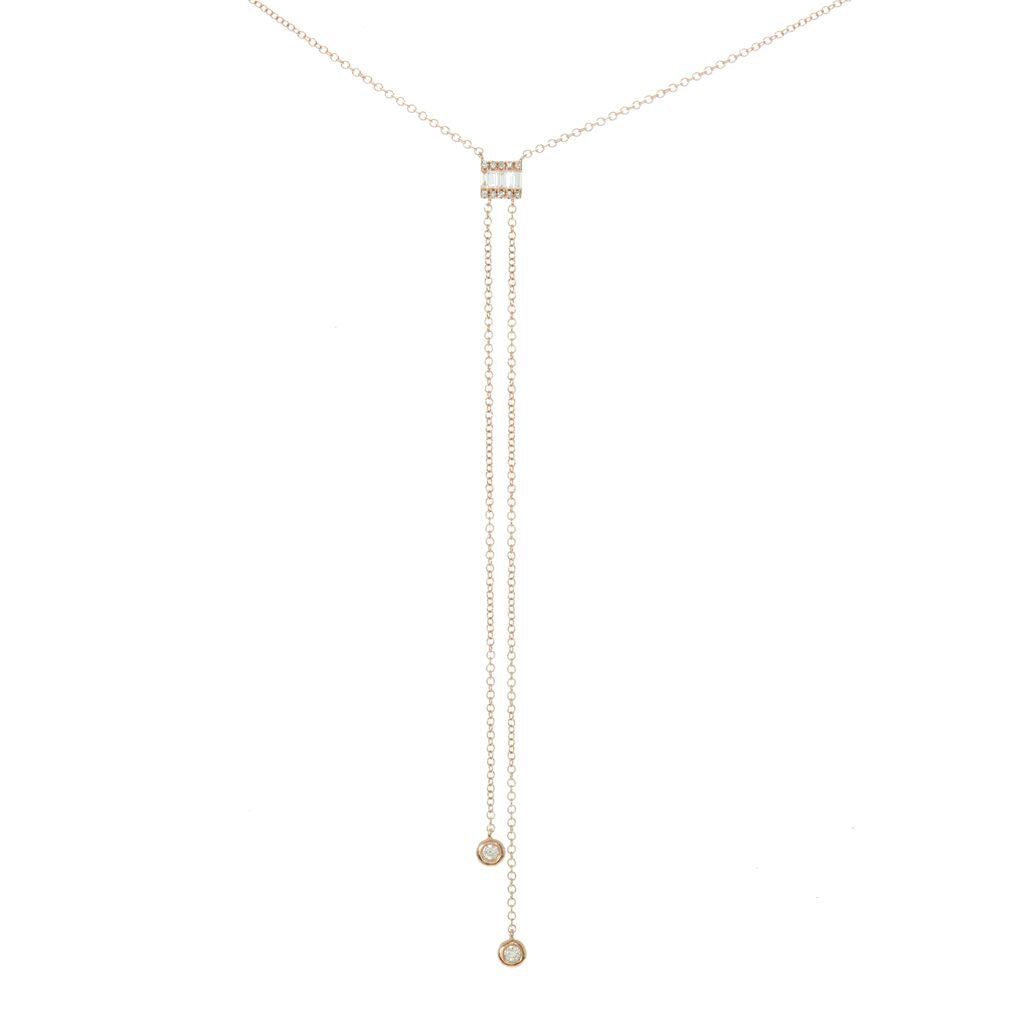 Baguette Double Diamond Drop Necklace