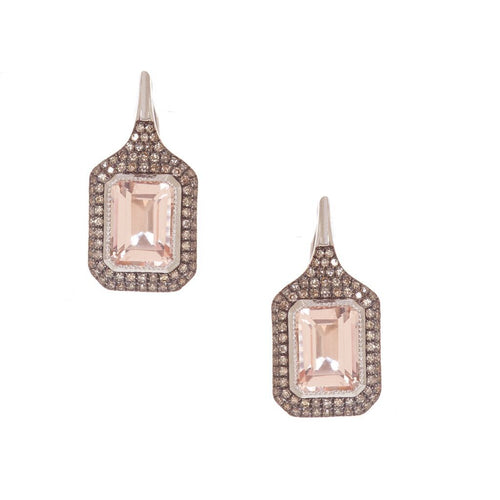 Rectangular Morganite Pave Stone Earrings
