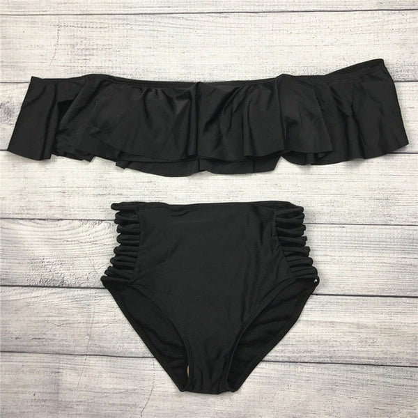 High Waist Cross Straps Hollow Out Swimsuit