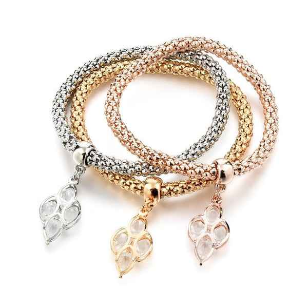 Rhinestones Gold Color Tree of Life Charm Bracelets