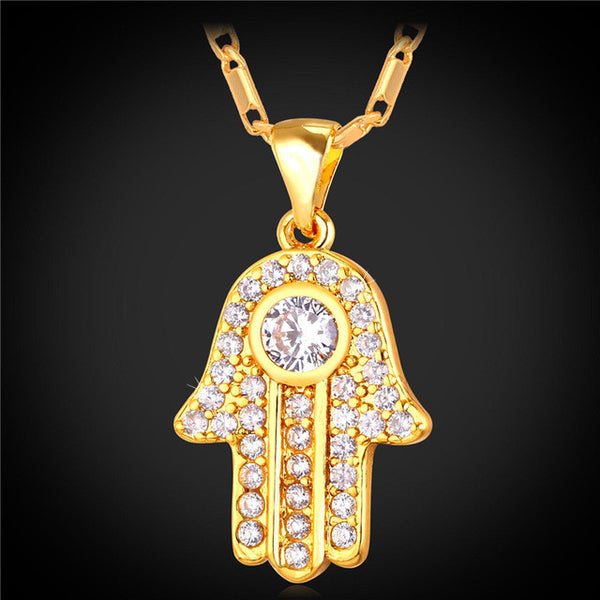 Gold Color Cubic Zirconia Pendants & Necklaces