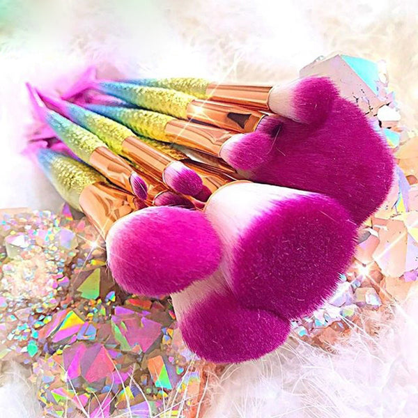 10Pcs Unicorn Mermaid Makeup Brush Set