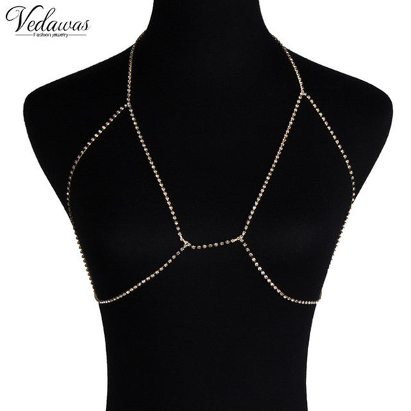 Harness Chain Women Rhinestone Choker Necklace