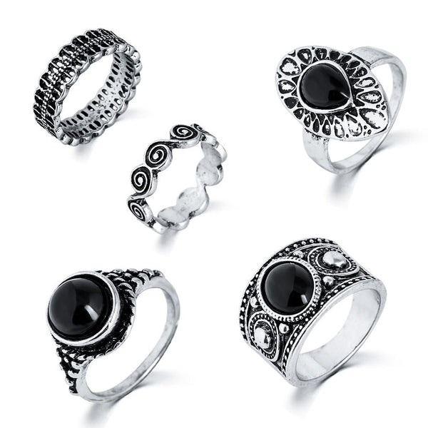 5pc Antique Ring Set (Silver or Gold)