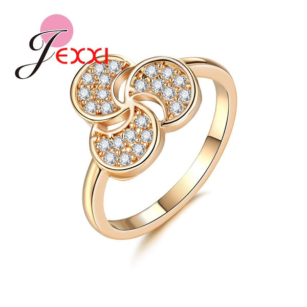 Triple Moon Linked Women Gold Color Ring