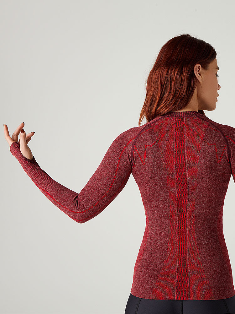 FIRE Embrace Seamless Long Sleeve Top -- Red Heather