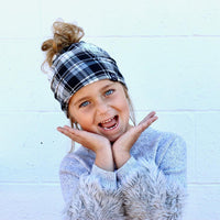 Black and White Plaid Kids Messy Bun Beanie