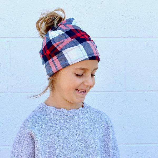 Red and Blue Plaid Kids Messy Bun Beanie