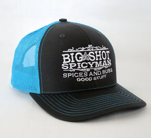Trucker Hat - Charcoal/Neon Blue