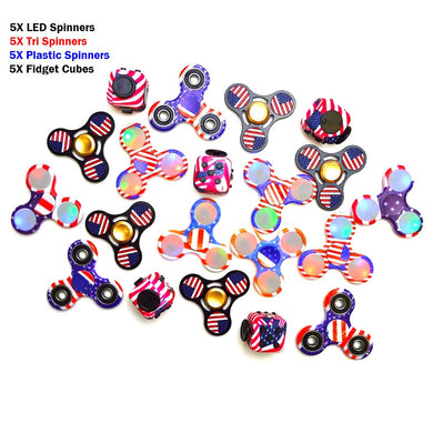 American Flag 20X LED Fidget Spinners Tri Spinners Fidget Cubes Party Combo!!!!