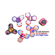 5X LED Light up American Flag Spinners Metal Spinner and Fidget Cube Combo