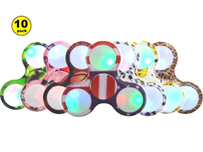 Wholesale Lot 10x Camo LED Light Up Hand Finger Spinner Fidget Plastic EDC Hand Spinner For Autism