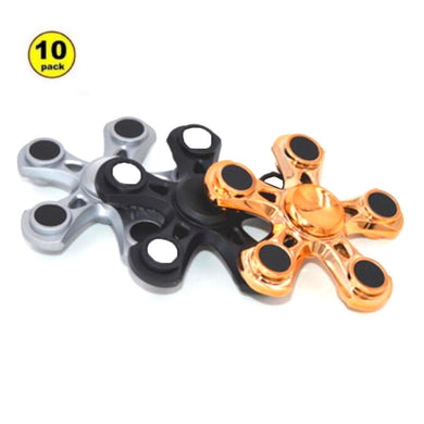 Wholesale Lot 10X Penta-Arm Fidget Spinner (Silver, Gold, Black)