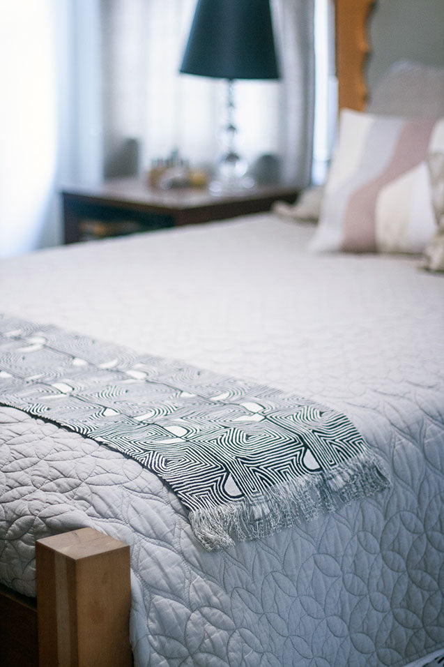 Art Block Print Fabric as a Coverlet for your Bed