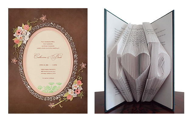 Quilled paper art wedding invitation origami book